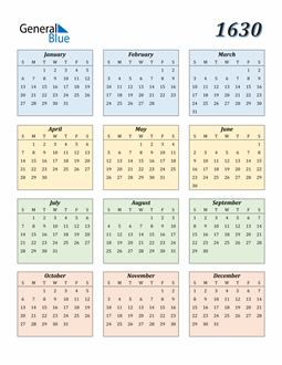 Image of 1630 1630 Calendar with Color