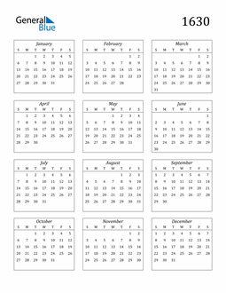 Image of 1630 1630 Calendar Streamlined