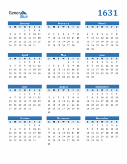 Image of 1631 1631 Calendar Blue with No Borders