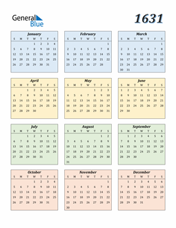 Image of 1631 1631 Calendar with Color