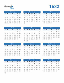 Image of 1632 1632 Calendar Blue with No Borders