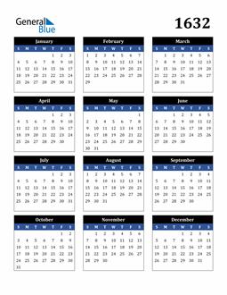 Image of 1632 1632 Calendar Stylish Dark Blue and Black
