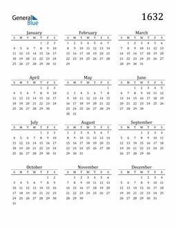 Image of 1632 1632 Printable Calendar Classic