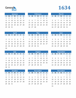 Image of 1634 1634 Calendar Blue with No Borders