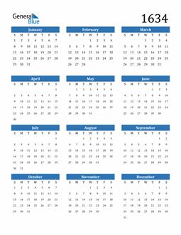Image of 1634 1634 Calendar