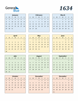 Image of 1634 1634 Calendar with Color