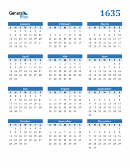 Image of 1635 1635 Calendar Blue with No Borders