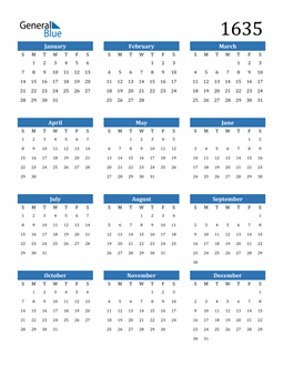 Image of 1635 1635 Calendar