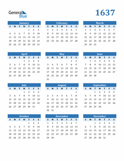 Image of 1637 1637 Calendar Blue with No Borders