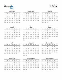 Image of 1637 1637 Printable Calendar Classic