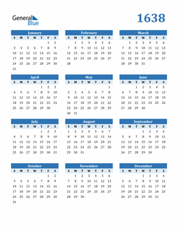 Image of 1638 1638 Calendar Blue with No Borders