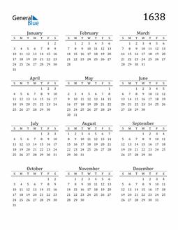 Image of 1638 1638 Printable Calendar Classic