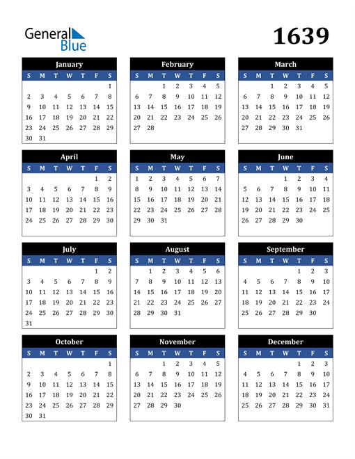 Image of 1639 1639 Calendar Stylish Dark Blue and Black