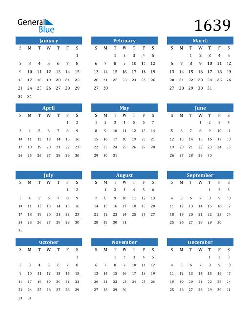 Image of 1639 1639 Calendar