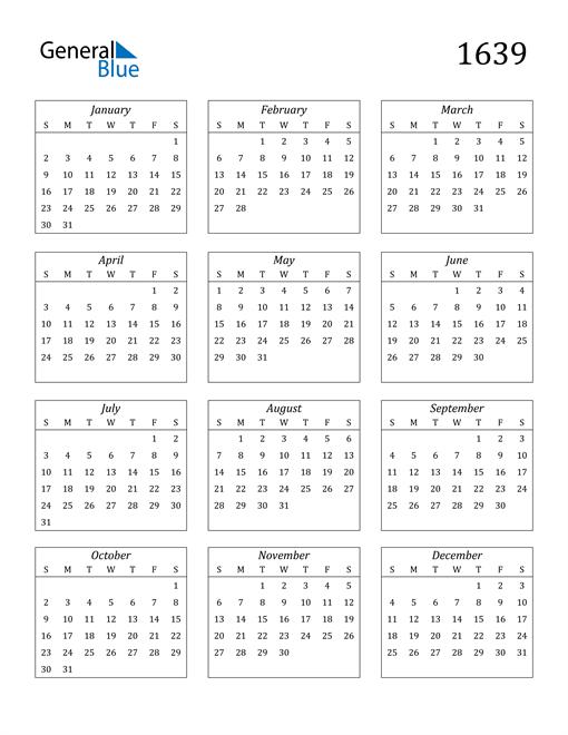 Image of 1639 1639 Calendar Streamlined