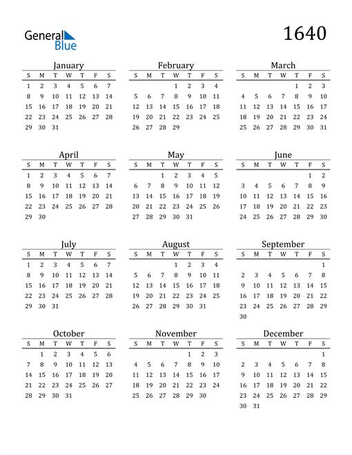 Image of 1640 1640 Printable Calendar Classic