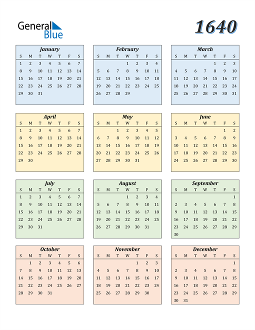Image of 1640 1640 Calendar with Color