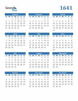 Image of 1641 1641 Calendar Blue with No Borders