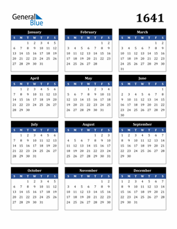 Image of 1641 1641 Calendar Stylish Dark Blue and Black