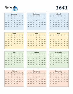 Image of 1641 1641 Calendar with Color
