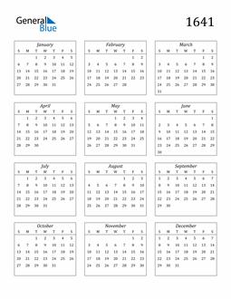 Image of 1641 1641 Calendar Streamlined