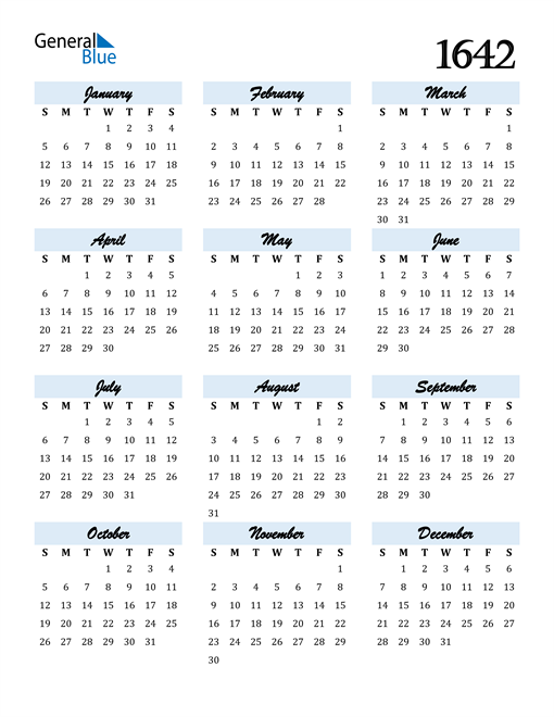Image of 1642 1642 Calendar Cool and Funky
