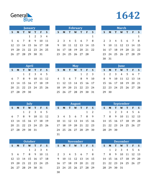 Image of 1642 1642 Calendar Blue with No Borders