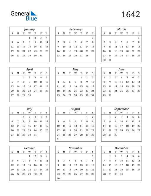 Image of 1642 1642 Calendar Streamlined