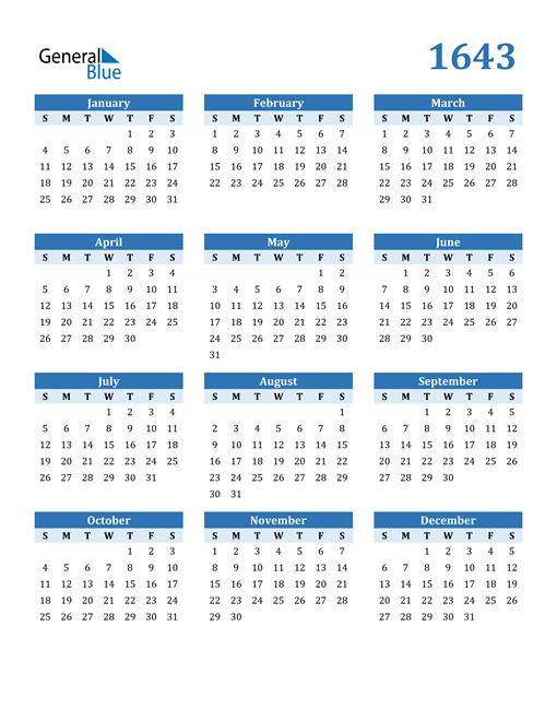 Image of 1643 1643 Calendar Blue with No Borders