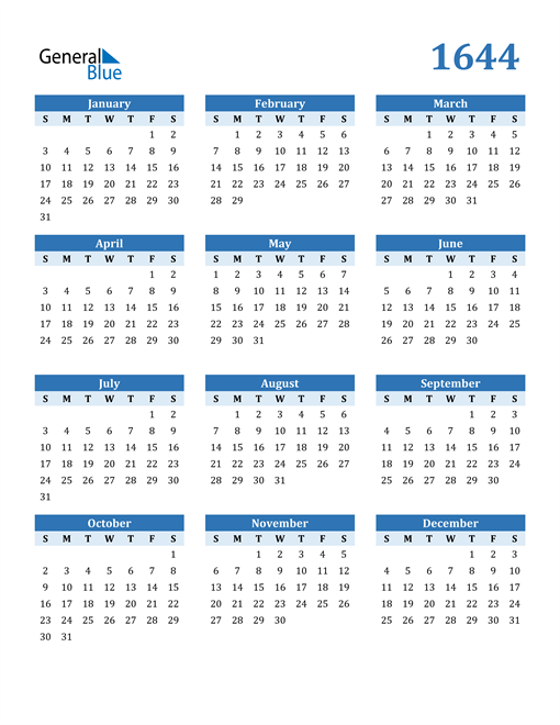 Image of 1644 1644 Calendar Blue with No Borders