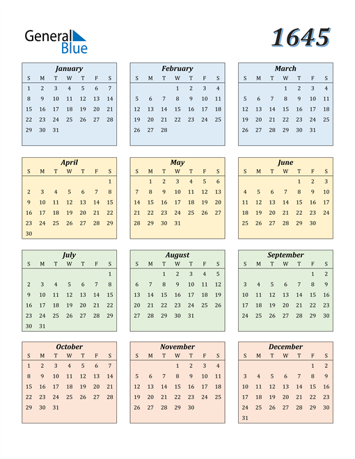 Image of 1645 1645 Calendar with Color