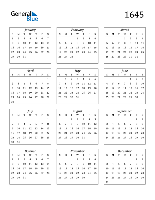 Image of 1645 1645 Calendar Streamlined