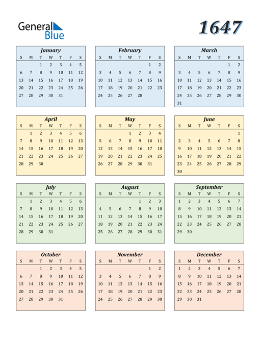 Image of 1647 1647 Calendar with Color