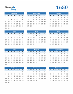 Image of 1650 1650 Calendar Blue with No Borders
