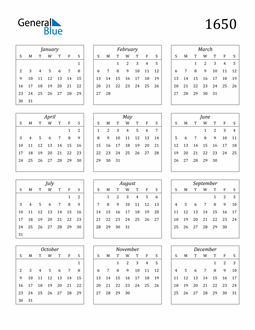 Image of 1650 1650 Calendar Streamlined