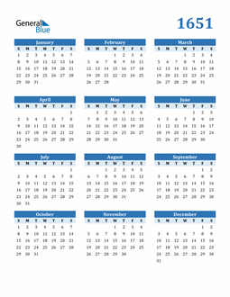 Image of 1651 1651 Calendar Blue with No Borders
