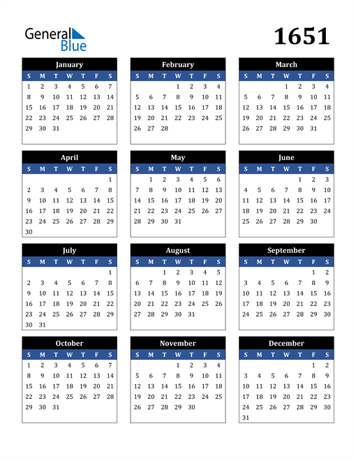 Image of 1651 1651 Calendar Stylish Dark Blue and Black