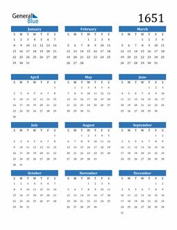 Image of 1651 1651 Calendar
