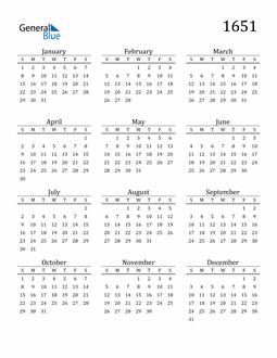 Image of 1651 1651 Printable Calendar Classic