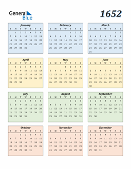 Image of 1652 1652 Calendar with Color
