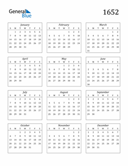 Image of 1652 1652 Calendar Streamlined