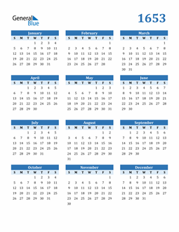 Image of 1653 1653 Calendar Blue with No Borders