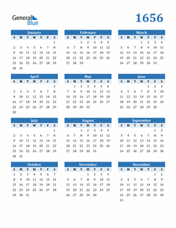 Image of 1656 1656 Calendar Blue with No Borders