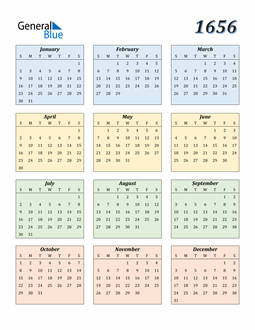 Image of 1656 1656 Calendar with Color