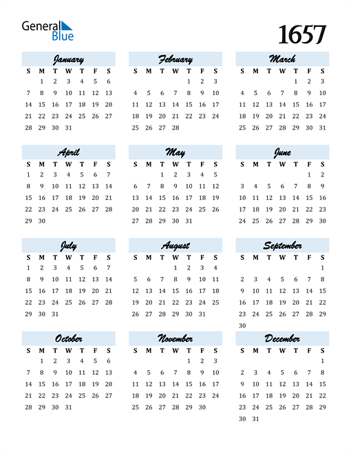 Image of 1657 1657 Calendar Cool and Funky