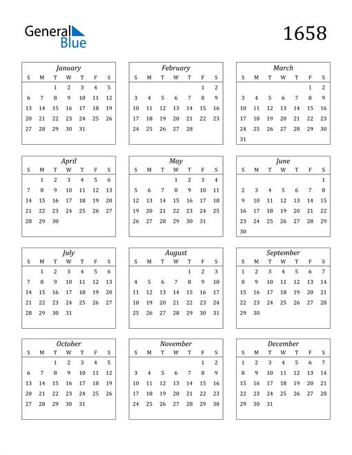 Image of 1658 1658 Calendar Streamlined
