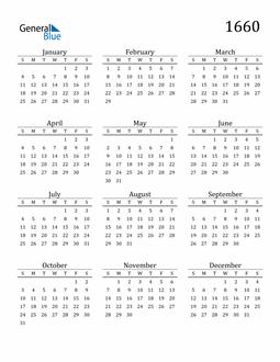 Image of 1660 1660 Printable Calendar Classic