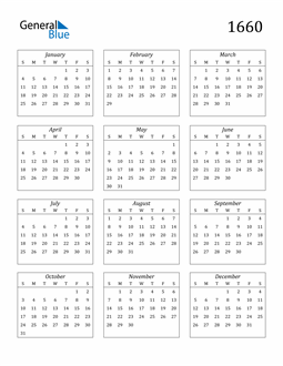 Image of 1660 1660 Calendar Streamlined