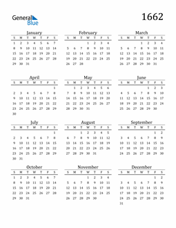 Image of 1662 1662 Printable Calendar Classic