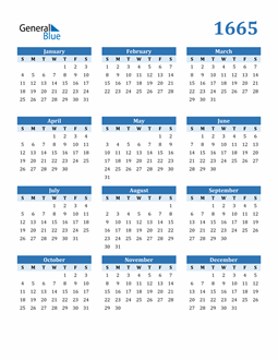Image of 1665 1665 Calendar Blue with No Borders